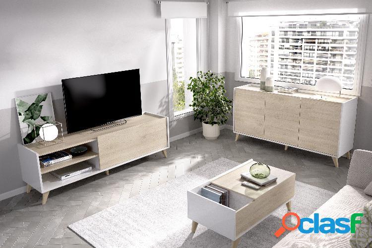 Conjunto de muebles de salón Dekit Ness 6 Blanco Natural
