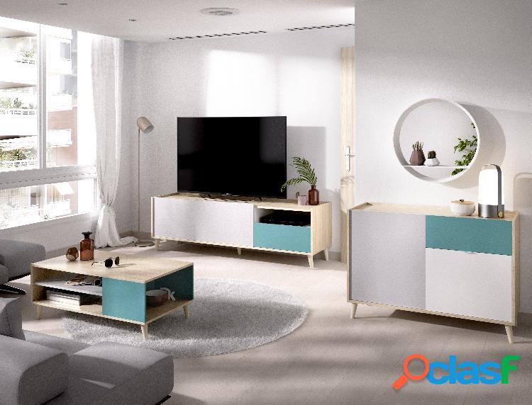 Conjunto de muebles de salón Dekit Nova 2 Natural Esmeralda
