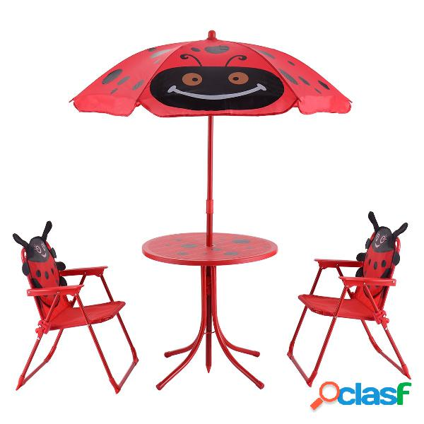 Costway Conjunto de mesa con sombrilla y 2 sillas de jardín
