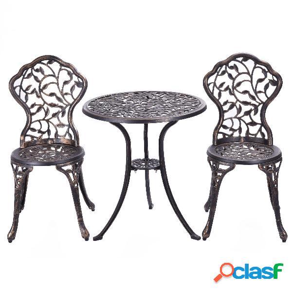 Costway Juego de mesa y 2 sillas de jardín Juego de 3