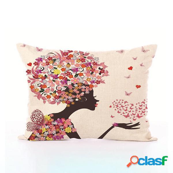 Cuentos de hadas estilo flor funda de almohada impresa