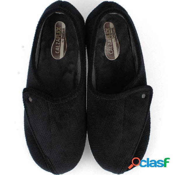 Devalverde - Zapatilla Ancho Especial Confort Velcro Negro