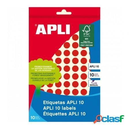 Etiquetas adhesivas apli 02732/ o10mm/ 8 hojas/ rojo
