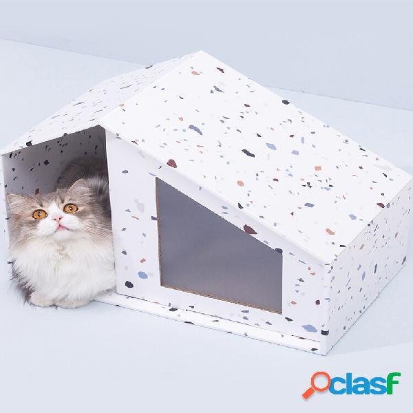 Furrytail Little House Gato Cama para mascotas de papel