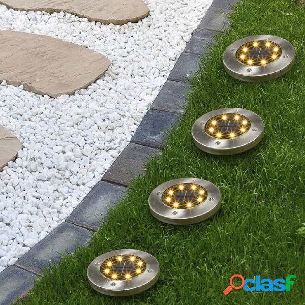 HI Juego de focos LED solares de suelo para jardín 4