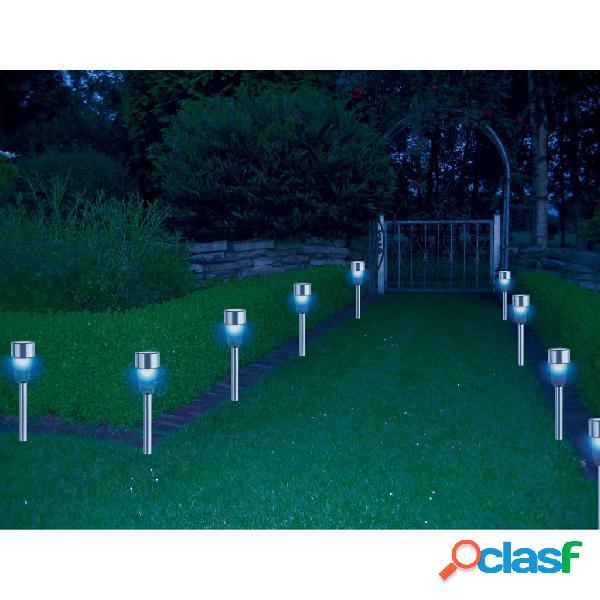 HI Lámparas solares LED de jardín 8 unidades acero