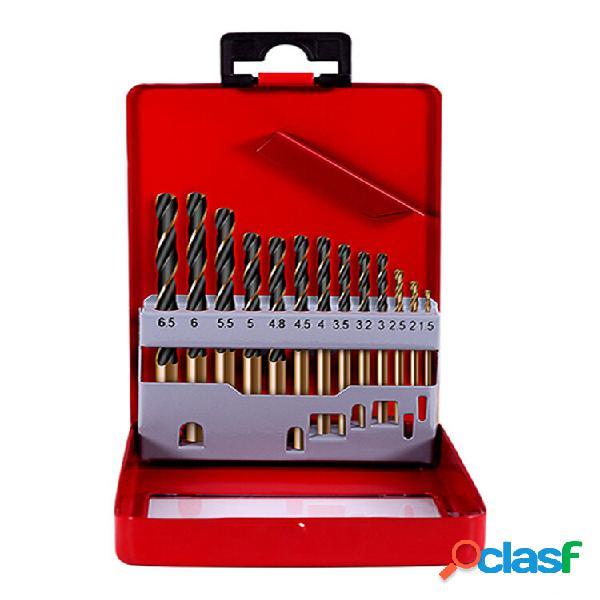 HILDA 13pcs 1.5-6.5mm HSS Cobalt Twist Taladro Juego de