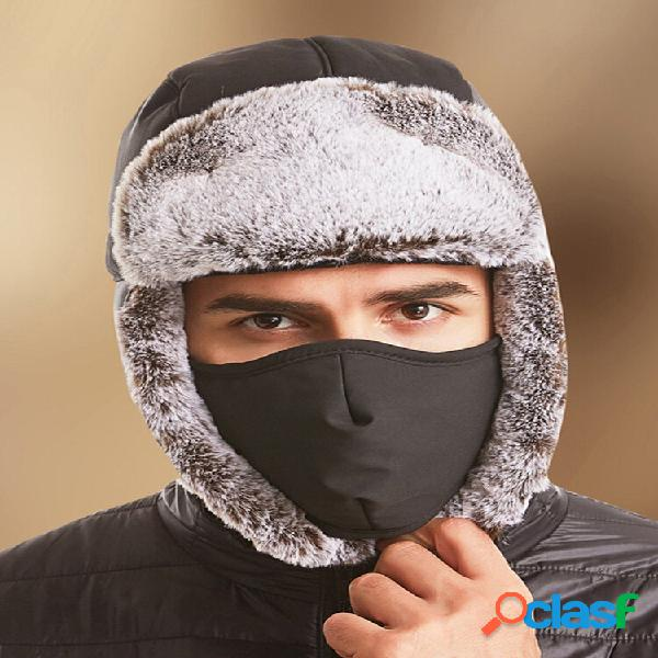 Hombres 2PCS Plush Plus Velvet Keep Warm Oreja Protección