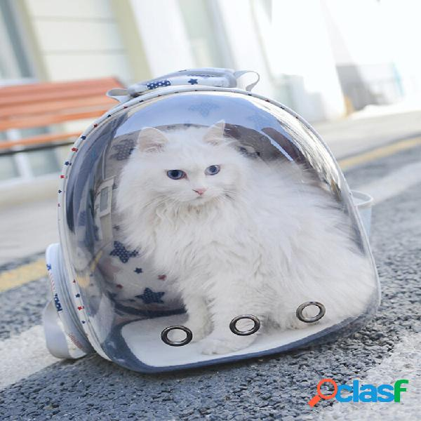 Mochila de viaje transpirable transparente para mascotas