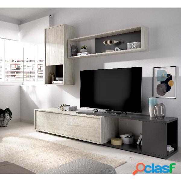 Mueble de Salón TV Flexible Dekit Obi Gris Grafito