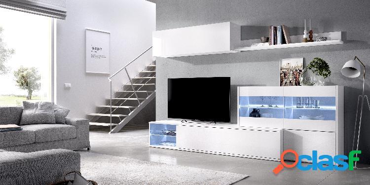 Mueble de Salón TV con Vitrina y Leds Dekit Uma Blanco