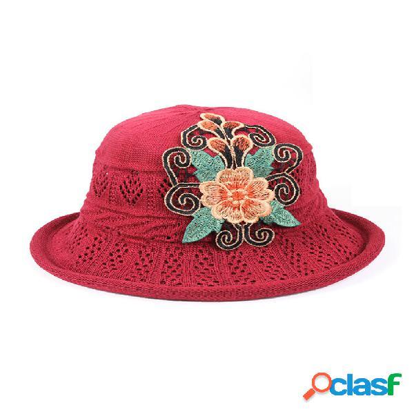 Mujer Paja hueca impresa Sombrero Sol transpirable Sombrero