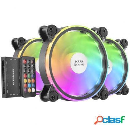 Pack 3 ventiladores mars gaming mfxkit/ 12cm + hub + mando a
