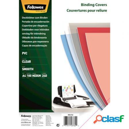 Portadas de pvc fellowes 53762/ a4/ 240 micras/ 100