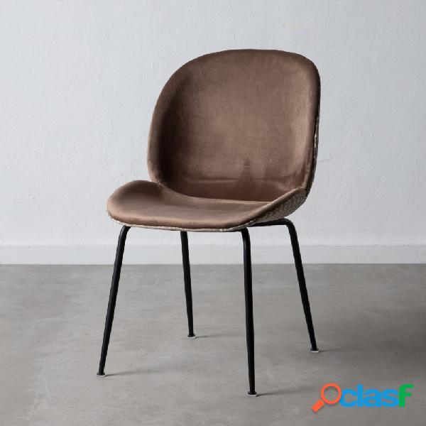 Set de 2 sillas 100% poliéster marrón con diseño