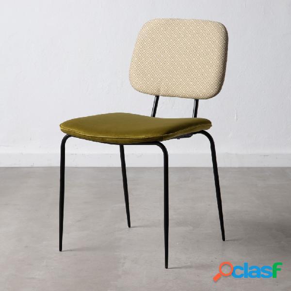Set de 4 sillas vintage con asiento velvet verde 55x81,5x46