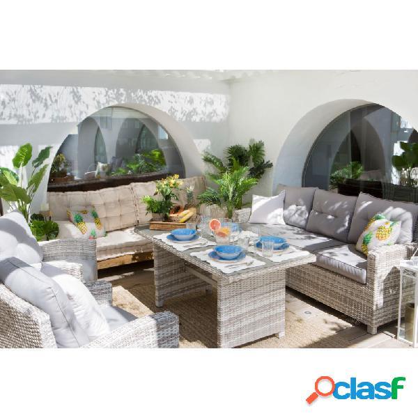 Set sofás y mesa exterior de ratán sintético malta