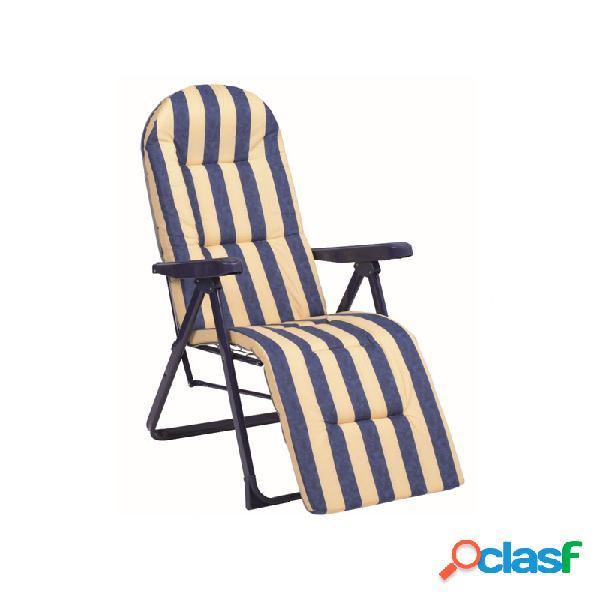 Sillon relax 5 posiciones acero acolchado rayas azul