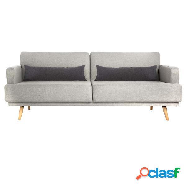 Sofá cama de 3 plazas gris 214x86x83cm