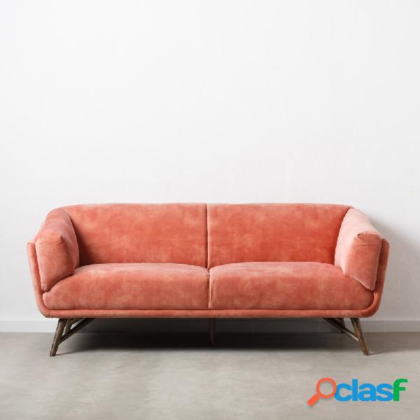 Sofá rosa de 2 plazas efecto velvet 168x90x76 cm