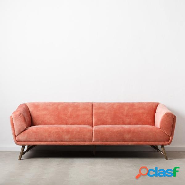 Sofá rosa de 3 plazas efecto velvet 229x90x76 cm