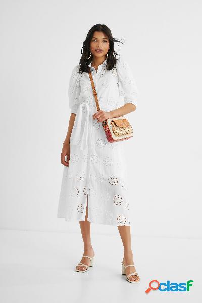 Vestido midi bordado suizo - WHITE - L
