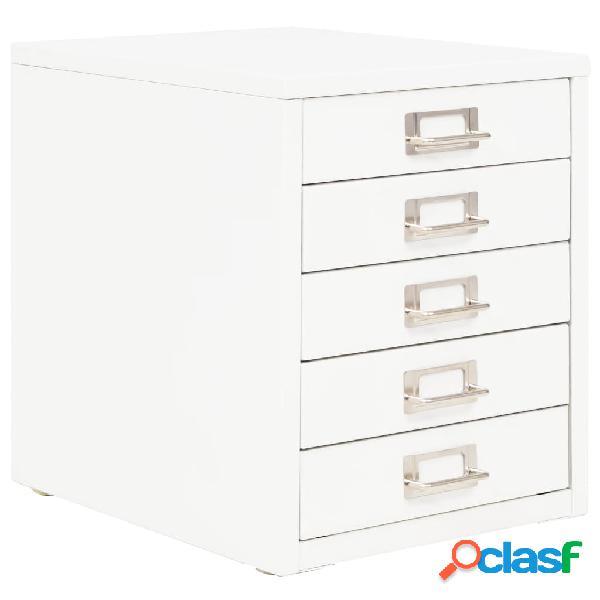 vidaXL Armario archivador con 5 cajones metal blanco