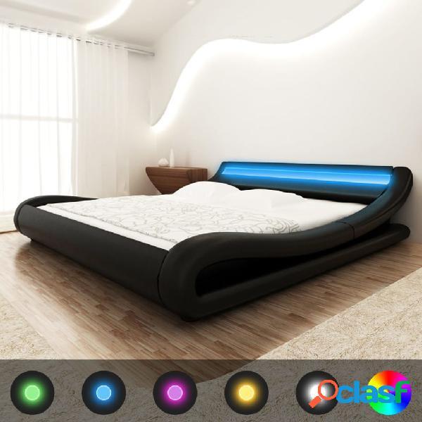 vidaXL Cama de cuero sintético negro con LED y colchón