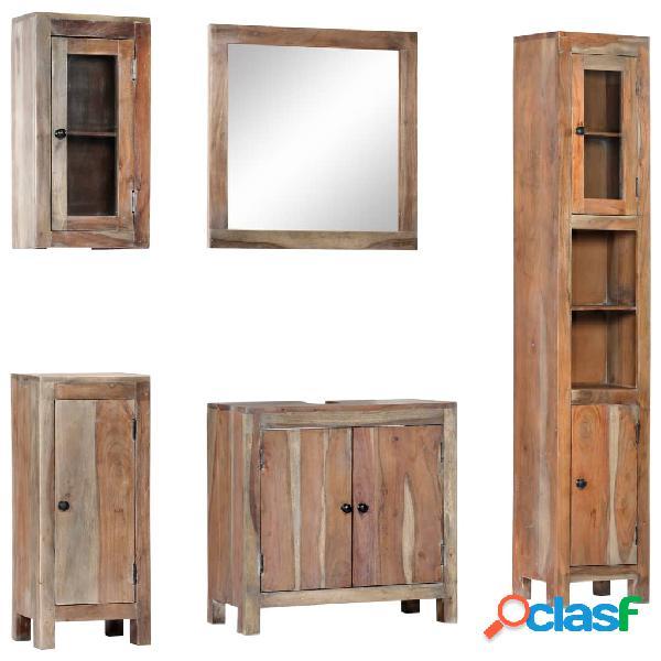 vidaXL Conjunto de muebles de baño 5 piezas madera maciza
