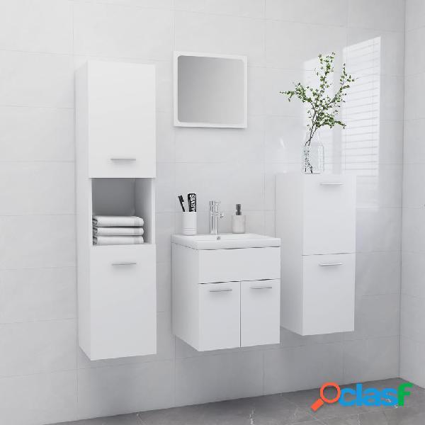 vidaXL Conjunto de muebles de baño aglomerado blanco