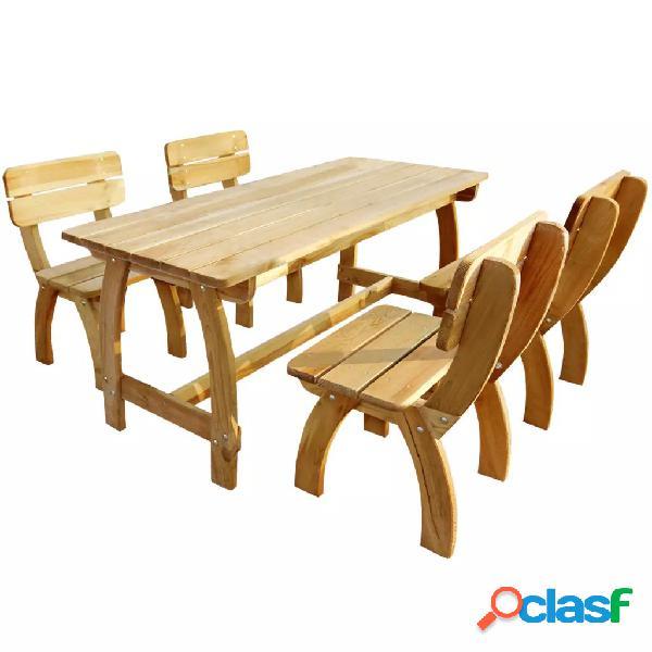 vidaXL Juego de comedor de jardín 5 piezas madera de pino
