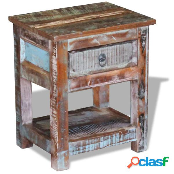 vidaXL Mesa auxiliar con 1 cajón madera maciza reciclada
