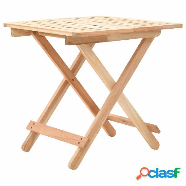 vidaXL Mesa auxiliar plegable de madera maciza de nogal