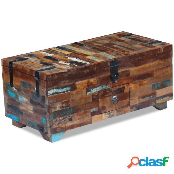 vidaXL Mesa de centro cofre de madera maciza reciclada