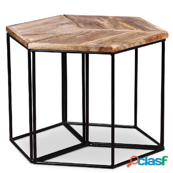 vidaXL Mesa de centro de madera de mango maciza 48x48x40 cm