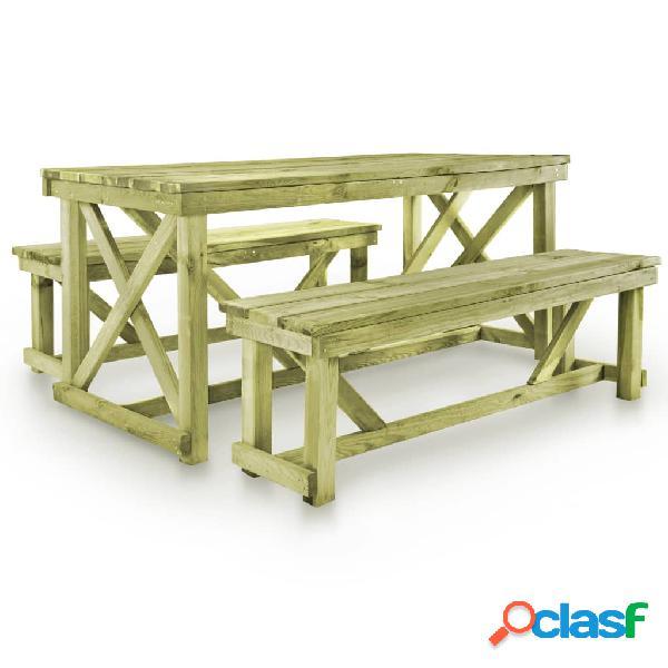 vidaXL Mesa de jardín con 2 bancos madera