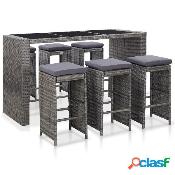 vidaXL Mesa y sillas de bar jardín 7 pzas cojines ratán