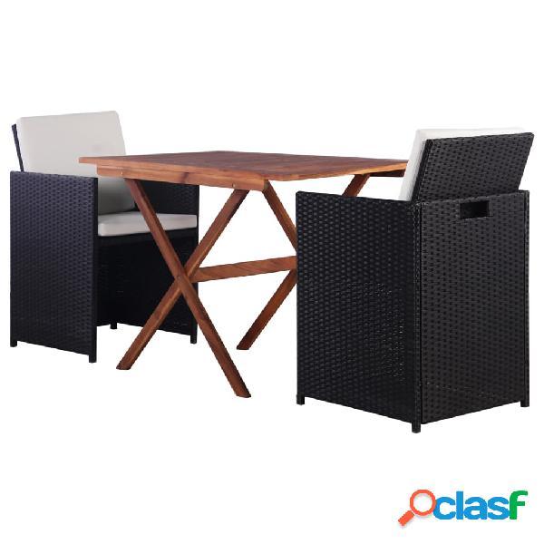 vidaXL Mesa y sillas de jardín 3 pzas poli ratán y madera