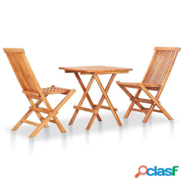 vidaXL Mesa y sillas de jardín plegables 3 pzas madera