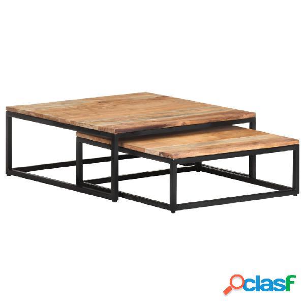 vidaXL Mesas de centro apilables 2 unidades madera maciza de