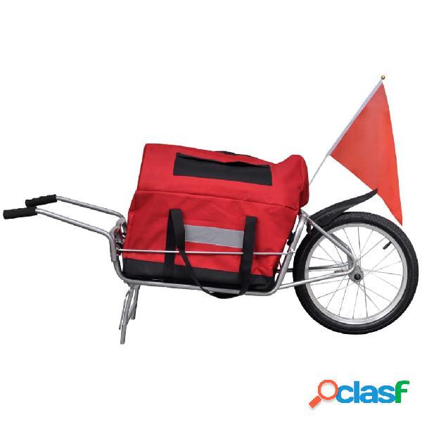 vidaXL Remolque para bicicletas una rueda con bolso de