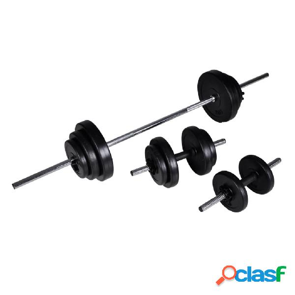 vidaXL Set de pesas + 2 mancuernas 30,5 kg