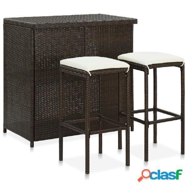vidaXL Set mesa y sillas de bar jardín 3 piezas ratán