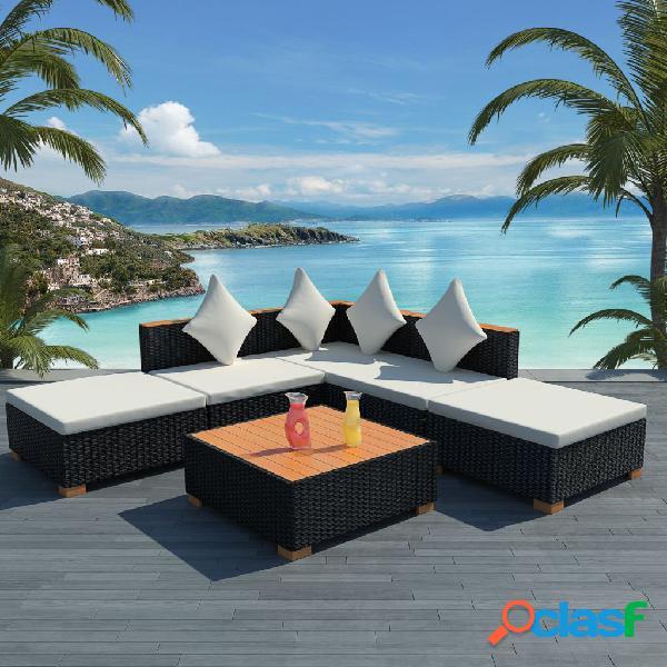 vidaXL Set muebles de jardín 6 piezas y cojines ratán
