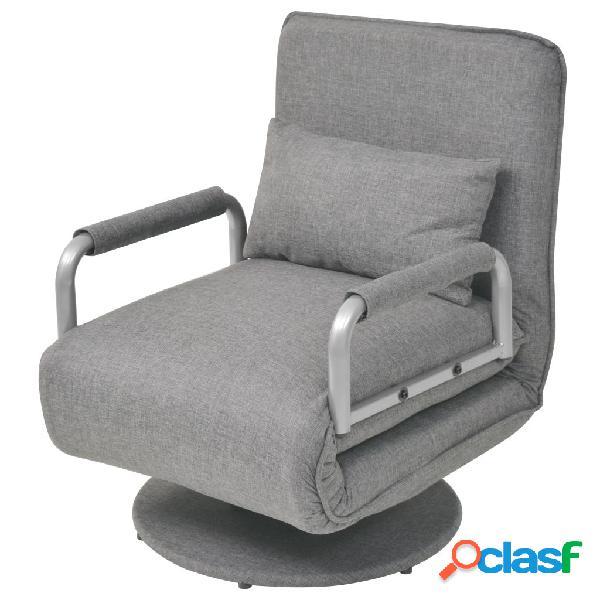 vidaXL Silla giratoria y sofá cama tela gris claro