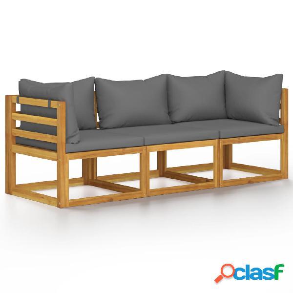 vidaXL Sofá de jardín de 3 plazas con cojín madera maciza
