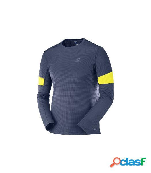 Camiseta running Salomon Agile LS Hombre Azul Noche Azul S