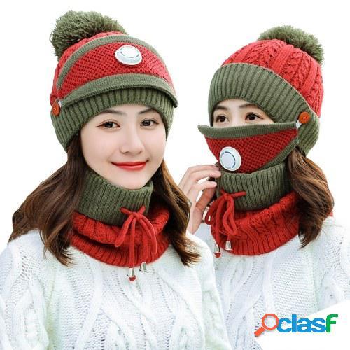 Sombrero de invierno de tres piezas más terciopelo