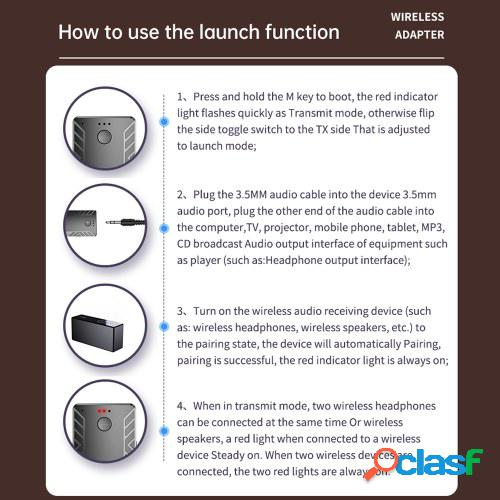 T19 Bluetooth 5.0 Transmisor Receptor Adaptador de audio