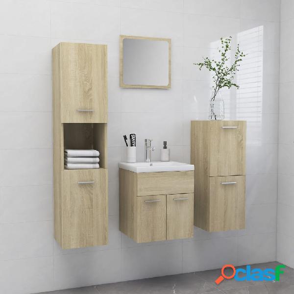 vidaXL Conjunto de muebles de baño aglomerado roble Sonoma